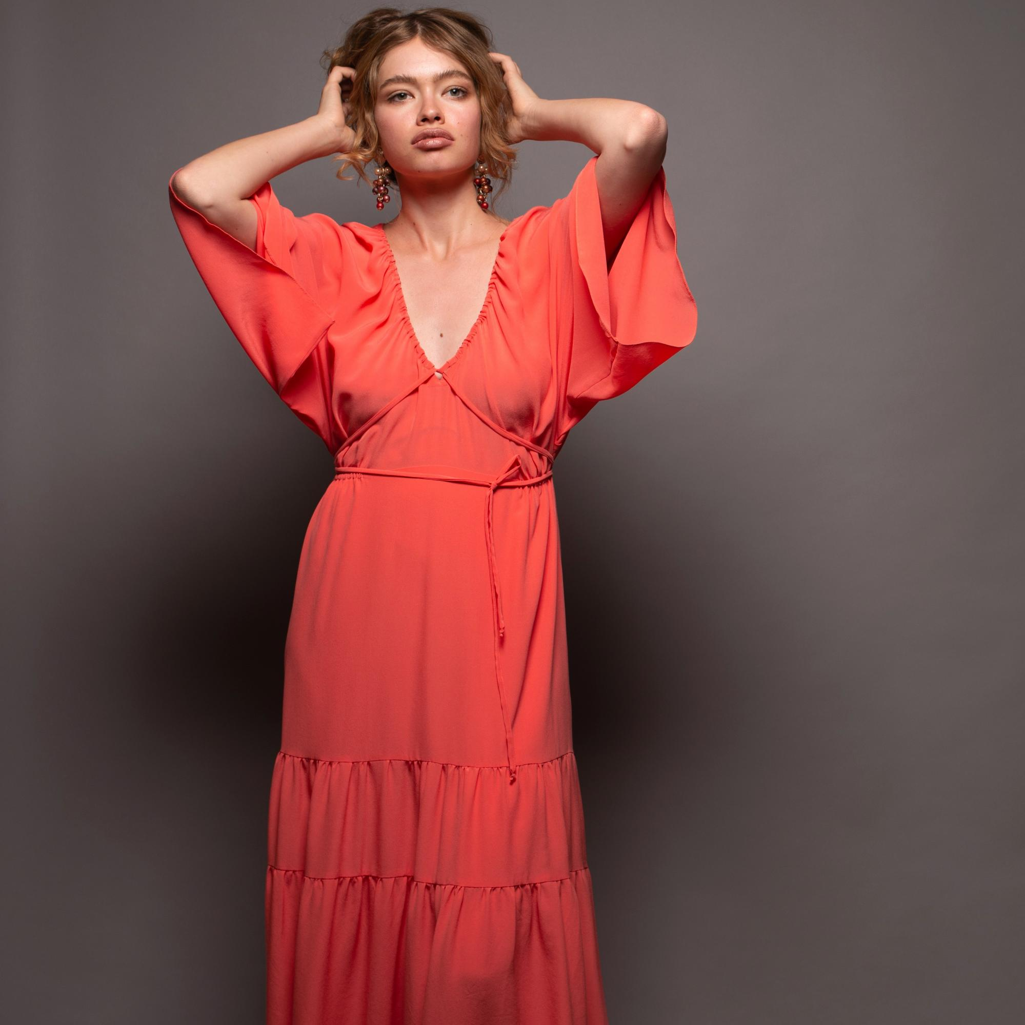 Stefanie Savary - sustainable luxury dresses, silk maxi coral dress, silk boho maxi dress, luxurious colorful maxi dress