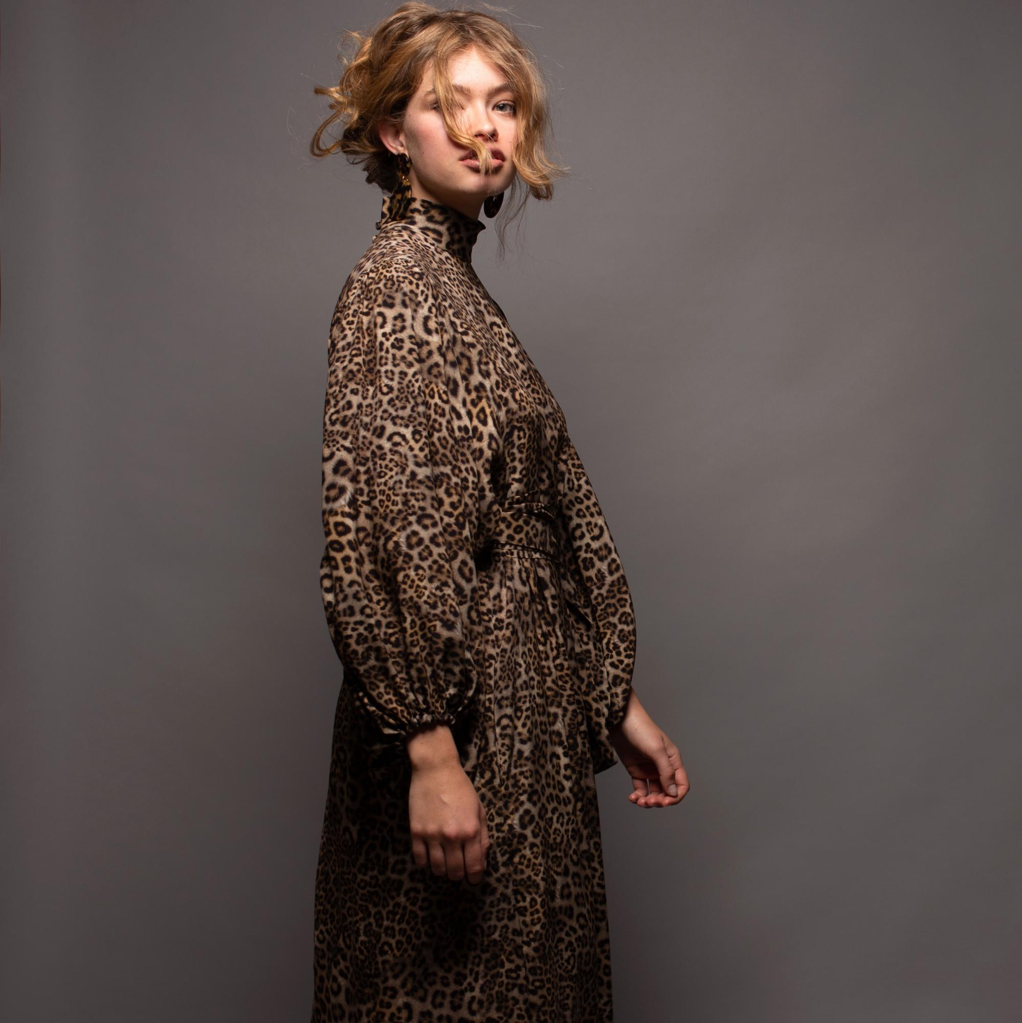Stefanie Savary - sustainable luxury dresses, leopard print silk midi dress, silk dress with sleeves, plus size silk dress