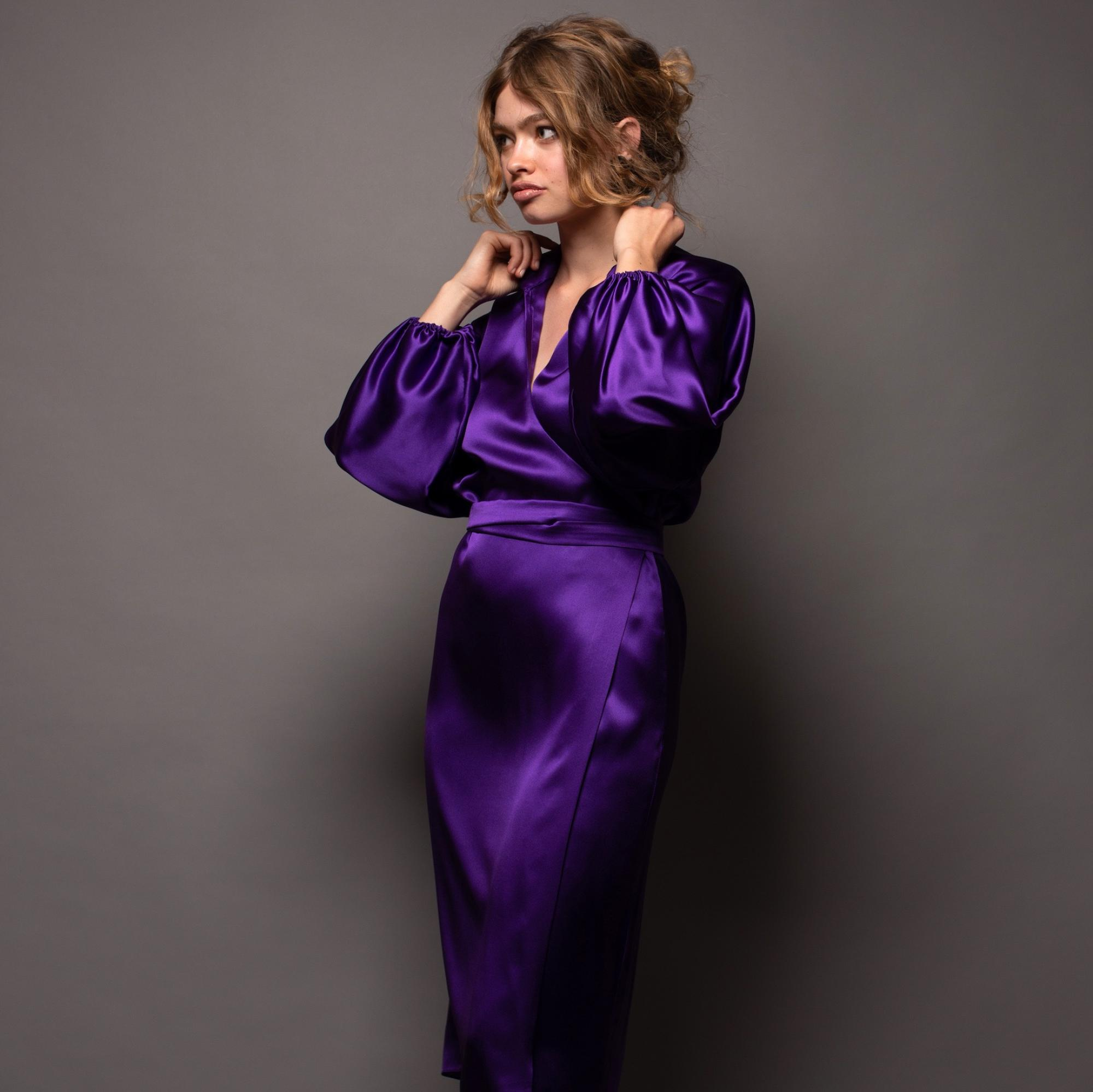 Stefanie savary - sustainable luxury dresses, silk purple wrap dress, midi violet silk dress, plus size silk midi dress