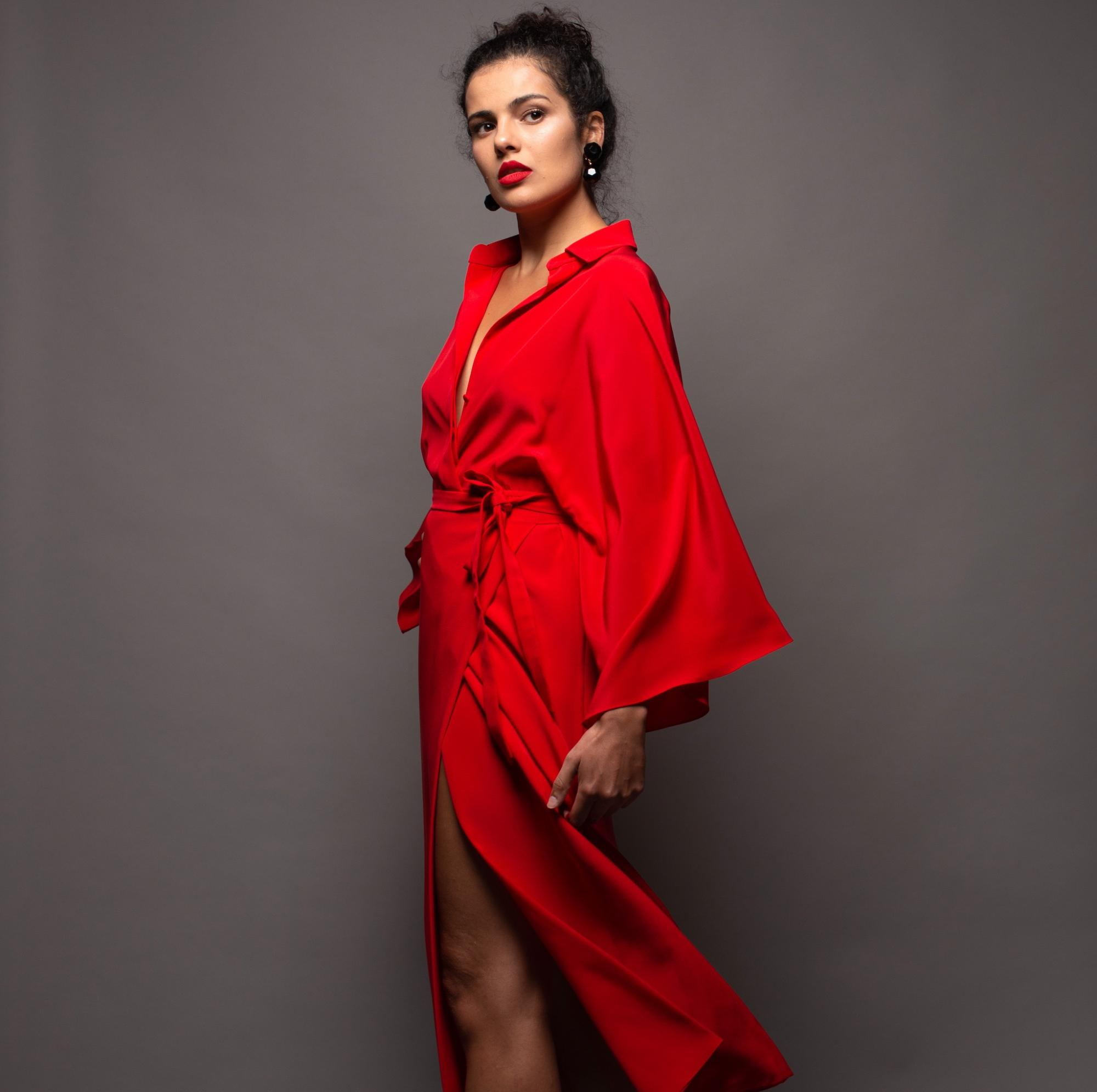 Stefanie Savary, red silk wrap dress, sustainable luxury dresses, midi red silk dress, kimono silk dress, red silk shirt dress